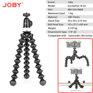 Joby GorillaPod 1K Compact Tripod with Ball Head (Max Load: 1kg)