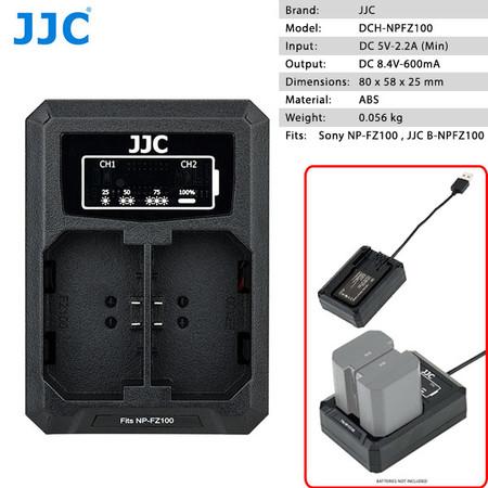 JJC DCH-NPFZ100 Dual USB Battery Charger for Sony NP-FZ100