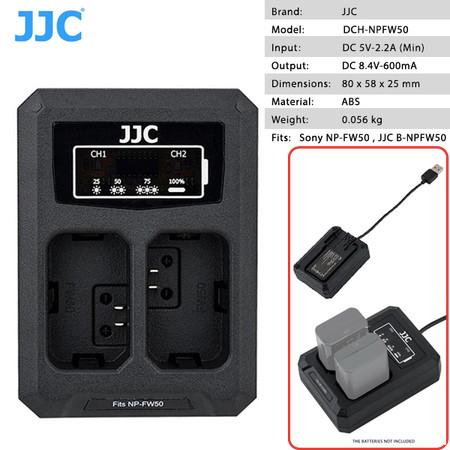 JJC DCH-NPFW50 Dual USB Battery Charger for Sony NP-FW50