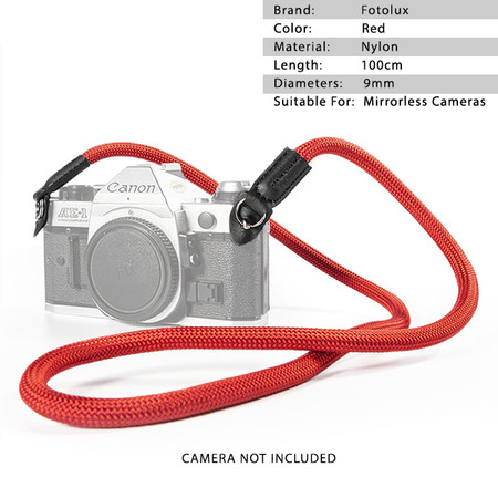 Fotolux Climbing Rope Camera Strap for Mirrorless Cameras (Red, 100cm long)