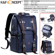 K&F Concept KF13.087 Multifunctional DSLR Camera Travel Backpack (Navy Blue, Large)