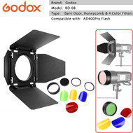 Godox BD-08 Barndoor Kit with Honeycomb Grid & 4 Color filters for AD400Pro Flash