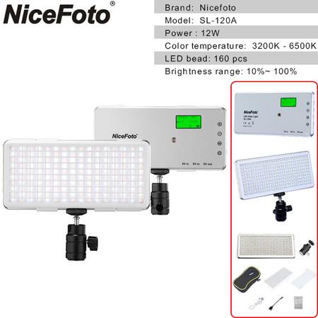 Nicefoto SL-120A 12W Pocket Video LED Light with LCD Display (3200K-6500K)