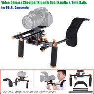 Fotolux Aluminum Video Camera Shoulder Rig Stabilizer with Dual Handle & Twin Rails for DSLR ,  Camcorder