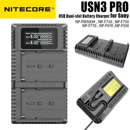 Nitecore USN3 PRO USB Dual-slot Battery Charger for Sony NP-FM500H ,NP-F730 , NP-F750 , NP-F770 , NP-F970 , NP-F550