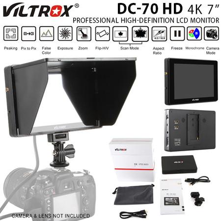 "Viltrox DC-70 HD 4K 7"" Professional High-definition LCD Monitor for DSLR & Video Camera (Sun shade hood , 1920 x 1200 pixels , HDMI)"