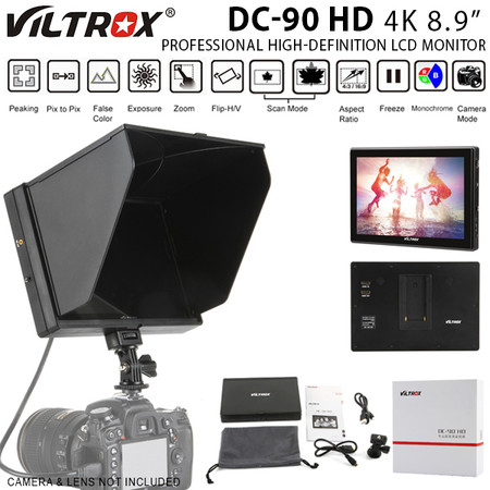"Viltrox DC-90 HD 4K 8.9"" Professional High-definition LCD Monitor for DSLR & Video Camera (Sun shade hood , 1920 x 1200 pixels , HDMI)"