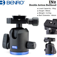 Benro IN2 Double Action Ball Head with PU60 Quick Release Plate (Max Load 10 kg)