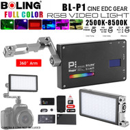 Boling BL-P1 RGB 12W Pocket Video LED Light 2500K-8500K with 360° Bracket for DSLR Camera