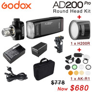 Godox AD200Pro Round Head Kit with H200R & AKR1 (5600K , 2.4G wireless X system, Bare Bulb & Speedlite)