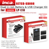Inca SETCD-SD008 Dual Li-ion Battery & USB Charger Kit with 2 x LP-E10 Battery for Canon LP-E10 (LCD Display)