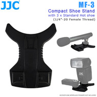 "JJC MF-3 Compact Shoe Stand with 3 x Standard Hot Shoe for Speedlight Flash , Microphone , Trigger & Other Accessories (1/4""-20 Female Thread )"