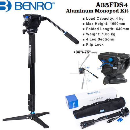 Benro A35FDS4 Aluminium Video Monopod Kit with S4 Head (4 Section , Flip Lock, Max Load 4kg)