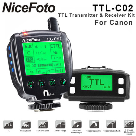 Nicefoto TTL-C02 Wireless Flash Remote TTL Trigger Kit for Canon (2.4G , HSS, 1/8000S, LCD Display)