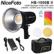 Nicefoto HB-1000B II 100W Daylight COB LED light (5600K /3200K with Color filter, Built-in battery)