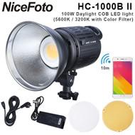 Nicefoto HC-1000B II 100W Daylight COB LED Light (5600K /3200K with Color filter, AC , Smartphone APP , Handheld)