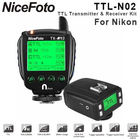 Nicefoto TTL-N02 Wireless Flash Remote TTL Trigger Kit for Nikon(2.4G , HSS, 1/8000S, LCD Display,TTL.M)