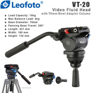 Leofoto VT-20 Flat Base Video Fluid Head with 75mm Bowl Adapter Column (Max Load 10 kg ,Half-Ball)