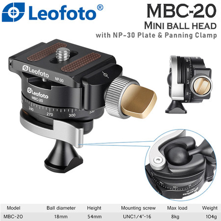 Leofoto MSC-20 Mini Ball Head with NP-30 Plate & Panning Clamp (Max Load 8kg , 360° Panorama)