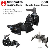 Manfrotto 038 Double Super Clamp for Studio Lighting & Support (Max Load 15kg , Autopole , Crossbar ,90° fastening , 13-55mm)