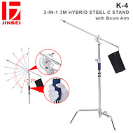 Jinbei K-4 2-in-1 3M Hybrid Steel C Stand with Boom Arm (Max Load 20kg , 360° Rotatable Boom, Heavy Duty)