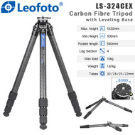 Leofoto LS-324CEX Ranger Series Carbon Fibre Tripod with Leveling Base ( Max Load 15kg, 4 Section, Twist Lock ,Tilt Range 15° )