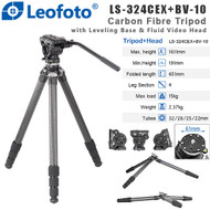 Leofoto LS-324CEX +BV-10 Ranger Series Carbon Fibre Tripod with Leveling Base & Fluid Video Head ( Max Load 15kg, 4 Section, Twist Lock ,Low Profile ,Flat Base )