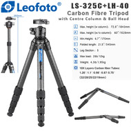 Leofoto LS-325C+LH-40 Ranger Series Carbon Fibre Tripod with Centre Column & Low Profile Ball Head ( Max Load 12kg, 5 Section, Twist Lock ,Double-Action)