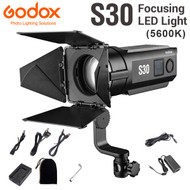 Godox S30 Focusing LED Light with SA-08 Barn door (5600K , Adjustable Beam Angle 6° to 55°)