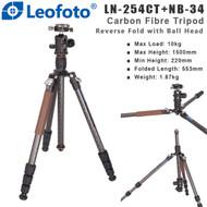 Leofoto LN-254CT+NB-34 Armour Series Carbon Fibre Tripod with Center Column & Ball Head (Max Load 10kg ,Reverse Fold, 4 Section , Twist Lock , Double-Action)