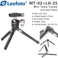 Leofoto MT-02+LH-25 Mini Table Tripod with Ball Head (Max Load 5kg , Locked Angles)