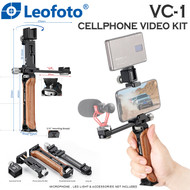 Leofoto VC-1 Cellphone Video Rosewood Handheld with 106mm Long Rail for Smartphone