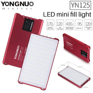 Yongnuo YN125 10W Video LED Mini Fill Light 3200-5600K ( Red , 4000mAh , 120pcs LEDs , Dimmable , Pocket Size )