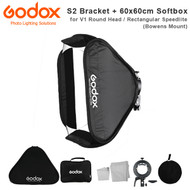 Godox S2 Speedlite Bracket + 60 x 60cm Quick Set Up Softbox Kit (fits Bowens Mount , V1 Round Head / Rectangular Speedlite , SGUV6060 )