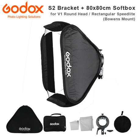 Godox S2 Speedlite Bracket + 80 x 80cm Quick Set Up Softbox Kit (Bowens Mount , V1 Round Head / Rectangular Speedlite )