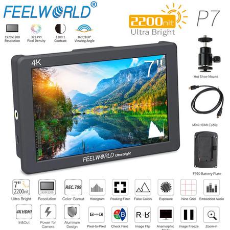 Feelworld P7 7'' 4K HDMI 2200nit Daylight Viewable Camera Field Monitor ( 1920 x 1200 pixels , Aluminum Design, Input & Output)