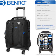 "Benro Pioneer 1500 Camera Trolley Case (400 x 300 x 570 mm , Up to 15"" Laptop, 360° Rotation Wheels)"