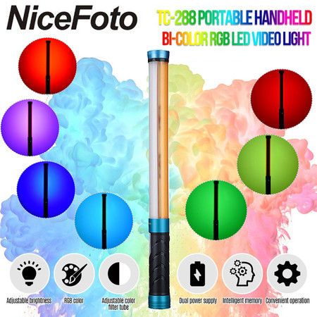 Nicefoto TC-288 RGB 14W LED Light Wand 3200-5500K (2800K-9000K , Hand-held)
