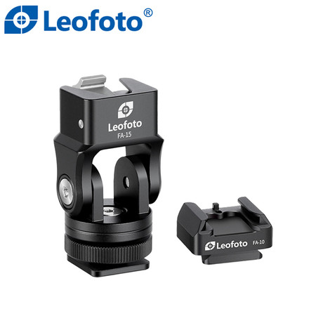 Leofoto FA-15+FA-10 Flash Quick Release Cold Shoe Adapter for Speedlight , GoPro , Microphone