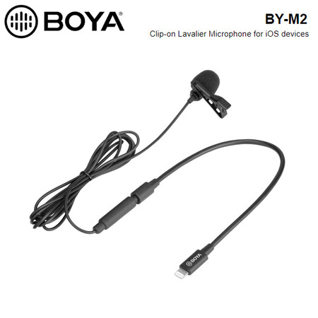 BOYA BY-M2 Clip-on Lavalier / Lapel Microphone for iOS devices ( 3.5mm TRS Male to lightning adapter cable)