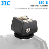 JJC JSC-8 Hot Shoe Adapter with Female PC Outlet & 3.5mm Mini Phone socket for Speedlight