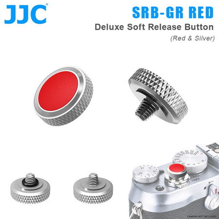 JJC SRB-GR RED Deluxe Soft Release Button (Red & Silver)