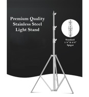 Fotolux QiH-J388SS 4m Stainless Steel Light Stand for Background Support (Heavy Duty 4 Sections)