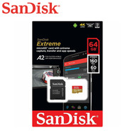SanDisk Extreme 64GB 160MB/s Micro SDXC UHS-I SD Card A2 V30 Class10 with SD Adapter