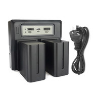 Fotolux Dual NP Batteries and AC Power Battery Charger Kit for LED Lights