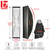 Jinbei KE 35 x 140 cm Quick Open Umbrella Strip Softbox with Grid