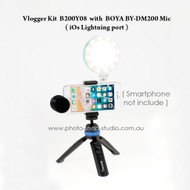 Vlogger Kit B200Y08 with Benro PP1 and BOYA BY-DM200 (iOs Lightning port)