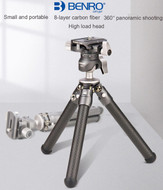 Benro SC05K Carbon Fiber Mini Table Tripod with Phone Holder (Max Load 3kg , Clamp Range  48-100mm)