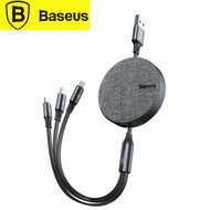 Baseus CAMLT-BYG1 Fabric 3-in-1 Flexible USB to Lightning / Micro /Type-C Retractable Cable (1.2m)