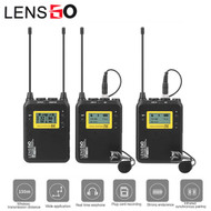 LENSGO LWM-328C Lavalier / Lapel Wireless Microphone Set with TF Card Slot (2 Transmitter + 1 Receiver)